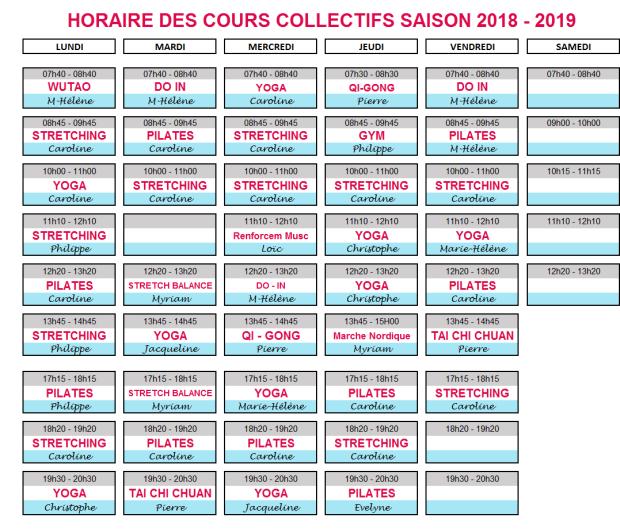 horaires 2018-2019