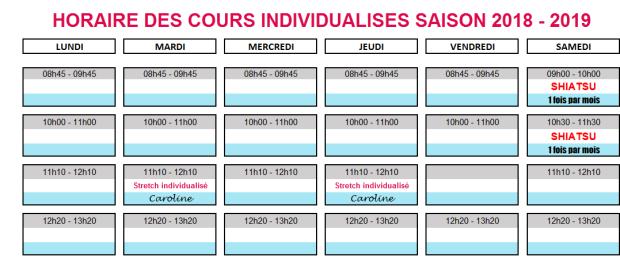 horaires cours individualisés 2018-2019